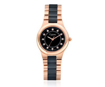 Ladies Black Ceramic and Rose Steel Watch