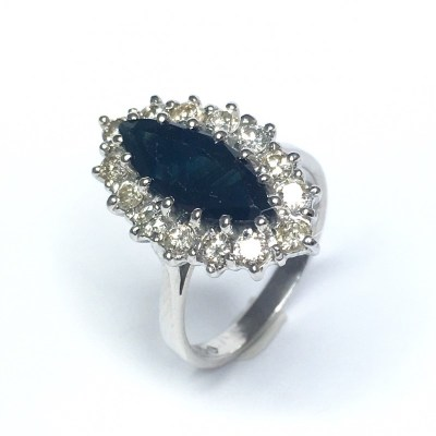 Second Hand Sapphire & Diamond Ring in 18ct White Gold