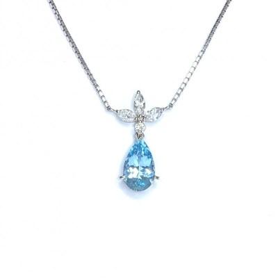 Second Hand Aquamarine & Diamond Pendant in Platinum