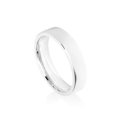 5mm White Gold Flat Court Wedding Ring Band