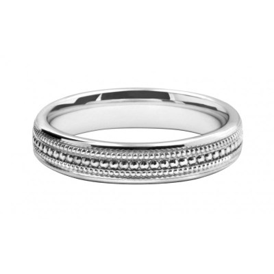 White Gold Cut Pattern Wedding Ring Band