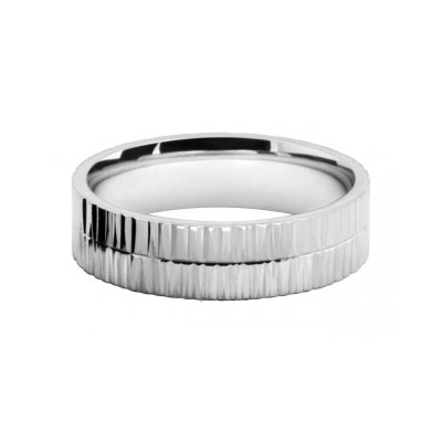 White Gold Bark Pattern Wedding Ring Band