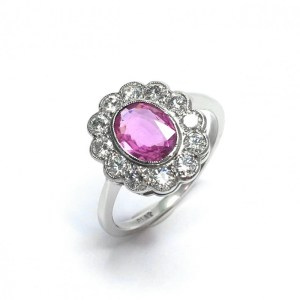Image of second hand pink sapphire & diamond ring in platinum