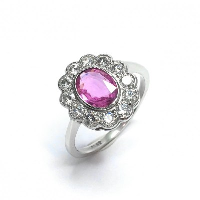 Second Hand Pink Sapphire & Diamond Ring in Platinum