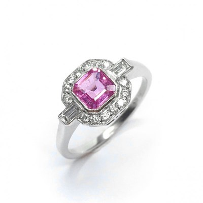 Second Hand Pink Sapphire & Diamond Ring in Platinum