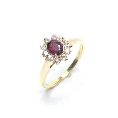 Second Hand Ruby & Diamond Ring in 18ct Yellow Gold