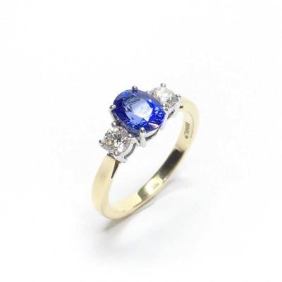 Second Hand Tanzanite & Diamond Ring in 18ct Yellow Gold