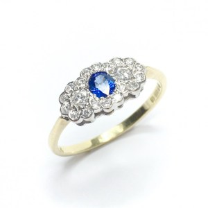 Image of second hand sapphire & diamond ring in 18ct yellow gold