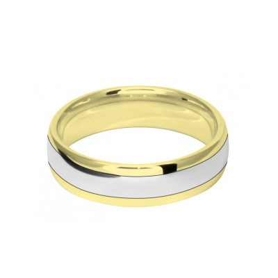 6mm 9ct Two Colour Gold Court Shape Wedding Ring Band