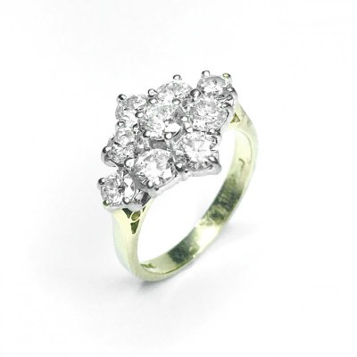 Second Hand Diamond Boat Cluster Ring in 18ct Yellow Gold