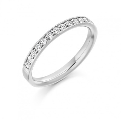 Round Brilliant Cut Diamonds Grain Set Vintage Wedding Ring, 0.33ct