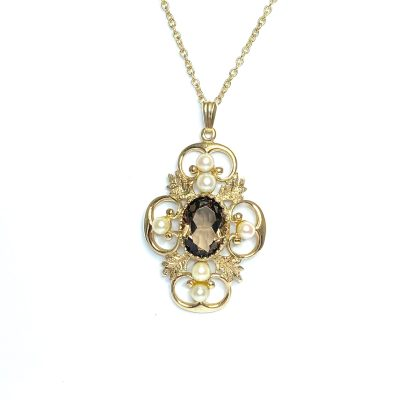 Second Hand 9ct Yellow Gold Topaz & Pearl Pendant