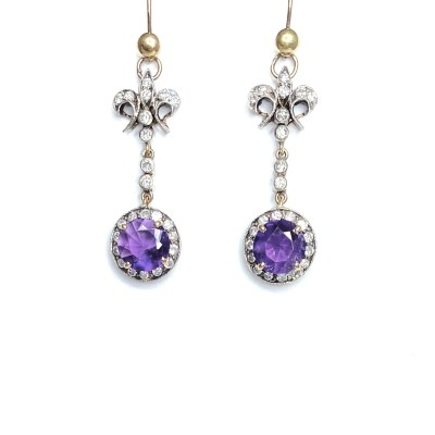 Second Hand 9ct Yellow Gold Amethyst & Diamond Earrings