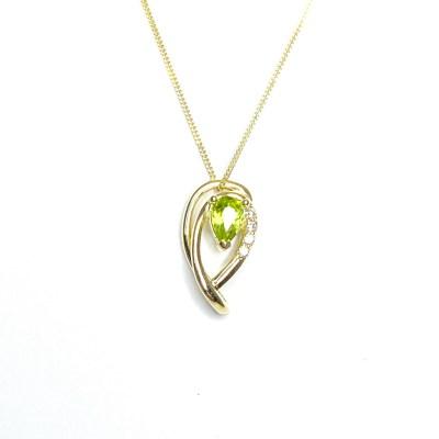 9ct Yellow Gold Peridot & Diamond Pendant