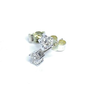 Second Hand 18ct Yellow White Gold Diamond Stud Earrings