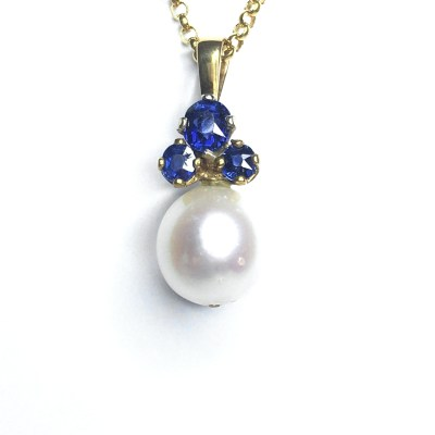Second Hand 9ct Yellow Gold Pearl & Burmese Sapphire Pendant