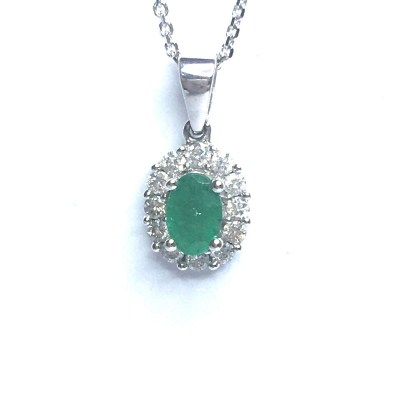 18ct White Gold Emerald & Diamond Pendant