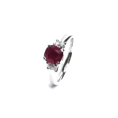 18ct White Gold Ruby & Diamond 3 Stone Ring
