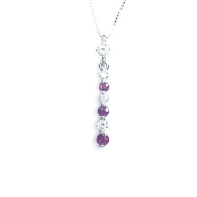 18ct White Gold Ruby & Diamond Pendant