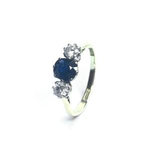 Second Hand 18ct Yellow Gold Platinum Set Sapphire & Diamond Ring