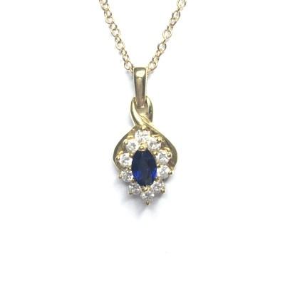 Second Hand 18ct Yellow Gold Sapphire & Diamond Pendant