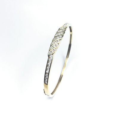 Second Hand 9ct Yellow Gold Diamond Bangle