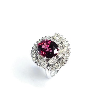 Second Hand 18ct White Gold Pink Tourmaline & Diamond Cluster Ring
