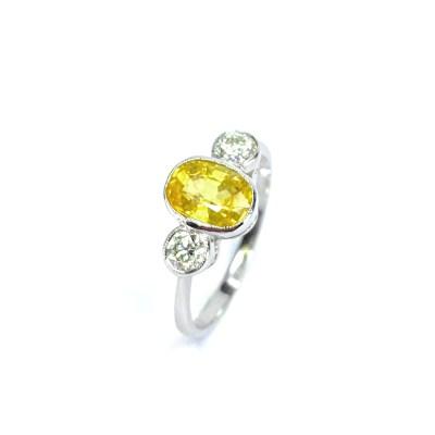 Second Hand Platinum Yellow Sapphire & Diamond Ring