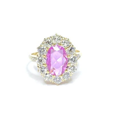 Second Hand 18ct Yellow Gold Pink Sapphire & Diamond Cluster Ring