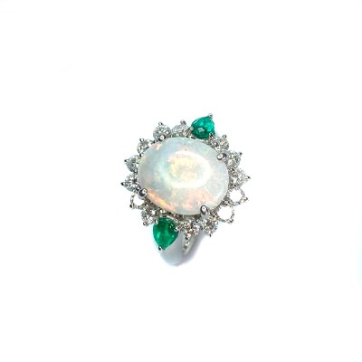 Second Hand 18ct White Gold Opal, Diamond And Emerald Ring