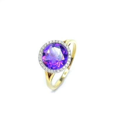 18ct Yellow Gold Amethyst & Diamond Ring