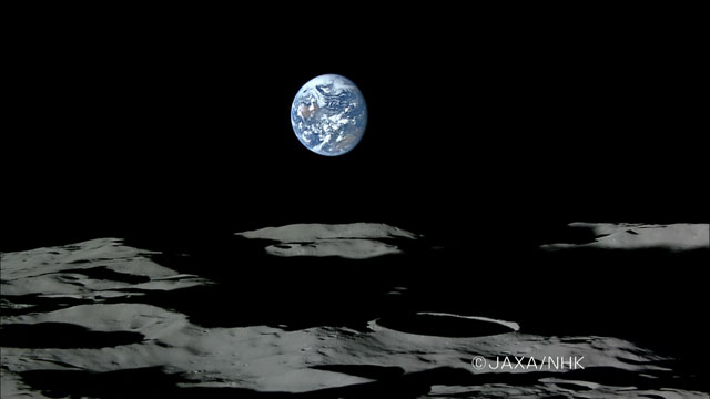 HD image of earth setting on lunar horizon