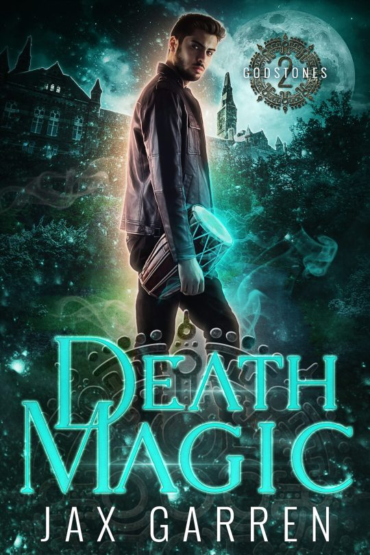 Book cover of Death Magic. A modern man with an ancient drum.