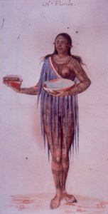 This lovely Timucua lady was drawn by a European during the 1590s.  From head to foot, she's covered with tattoos.  They probably told everyone at a glance that she belonged to a high social and political class.