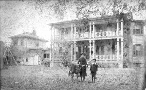 The Greeley home before its extraordinary renovation. That's young Mellen Greeley on the right.