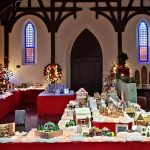 photo of inside of church and gingerbread displays