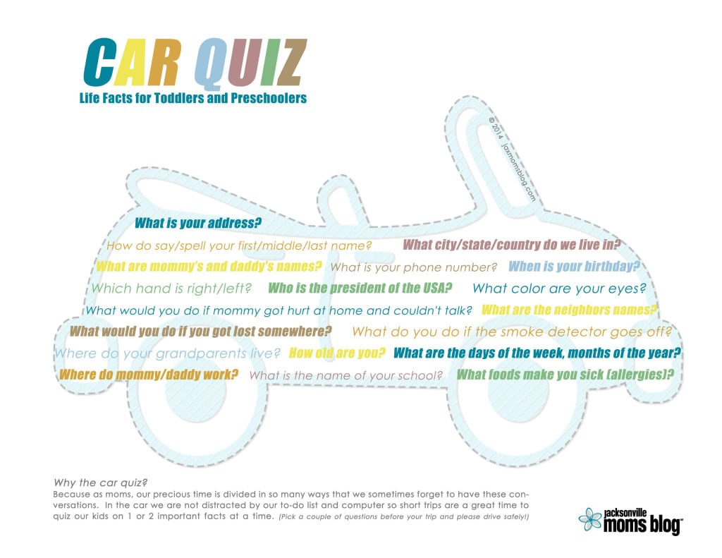 Car Quiz Life Facts For Toddlers And Preschoolers Printable