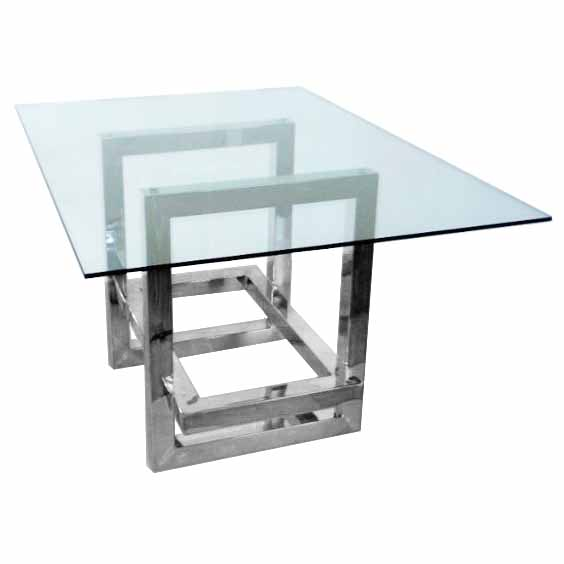 Dining table 001 (meja makan stainless top table kaca)