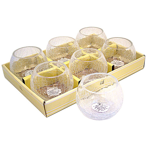 Wholesale Candle Holders Large Crackle Glass Tea Light