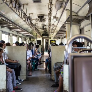 Inside the Wongwian Yai train