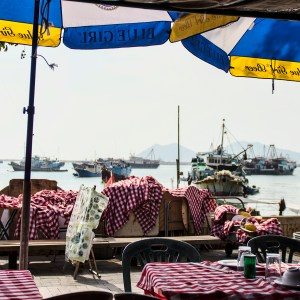 Sitting at a waterfront restaurant on Cheng Chau island