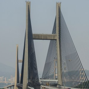 Close up of the Tsing Ma Bridge that connects Lantau Island to Hong Kong