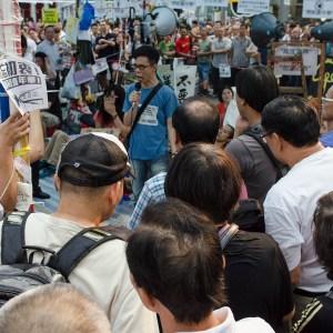 Protest speaker for the Umbrella Revolution at the Mongkok site