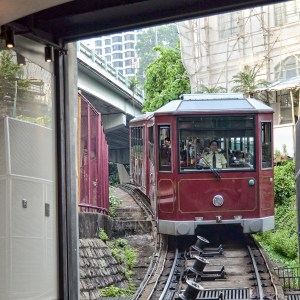 This tram takes you to the top of Victoria Peak