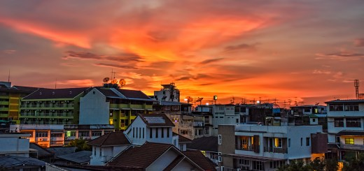 Sunset over Bangkok from U-Baan Hostel, Wongwian Yai