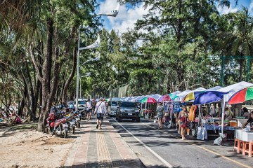 Delicious food carts that are parallel with Kata Beach.
