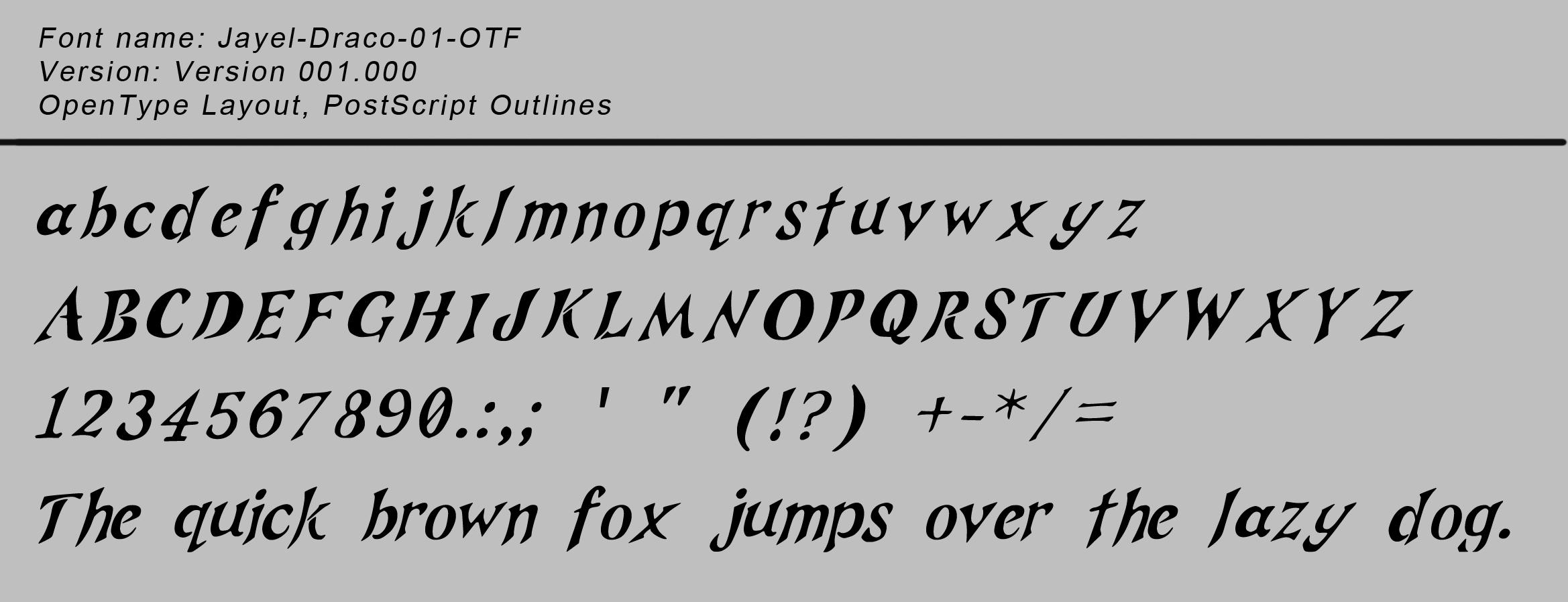 Jayel Draco 01 TTF - free font - preview image.