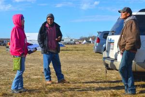 Lynsey G interviewing two Water Protectors at Oceti Sakowin