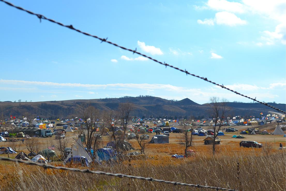 Oceti Sakowin camp as seen from Hwy 1806 durring the Standing Rock NoDAPL protests