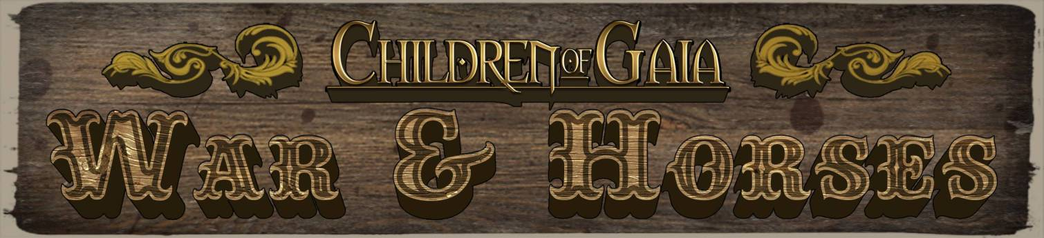 Children of Gaia: War & Horses written by Peter Lampasona, Illustrated by Chris Covelli and Jayel Draco, edited by Lynsey G, and published by Oneshi Press